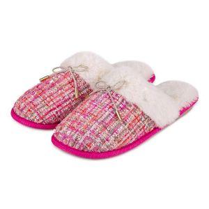 Totes Women's Tweed Mule Slippers – Pink