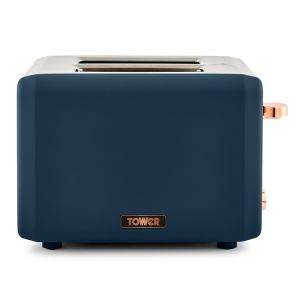 Tower Cavaletto 2 Slice Toaster, 850W – Midnight Blue / Rose Gold