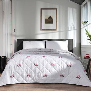 Deyong Red Tractor Bedspread, Grey