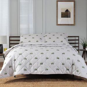 Deyong Green Tractor Bedspread, Grey