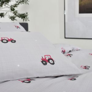 Deyong Red Tractor Duvet Set, Grey
