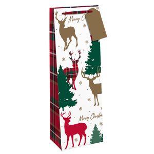 Traditional Christmas Red Tartan Reindeer Bottle Bag
