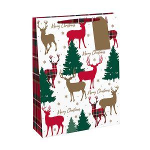 Traditional Christmas Red Tartan Reindeer Gift Bag - Large