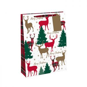 Traditional Christmas Red Tartan Reindeer Gift Bag – Medium