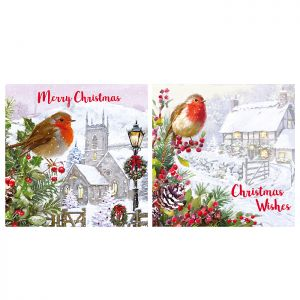 Traditional Red Robin Christmas Cards – 12 Pack
