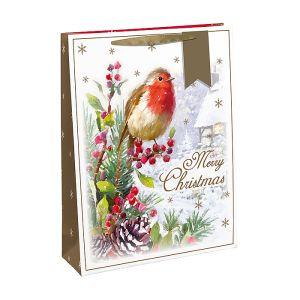 Traditional Robin Christmas Gift Bag, Large – Gold