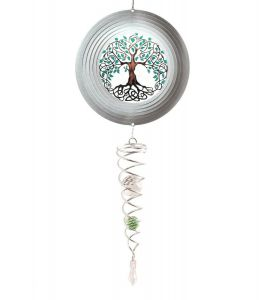 Spin Art Tree of Life Wind Spinner with Crystal Tail