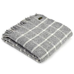Tweedmill Chequered Throw - Grey