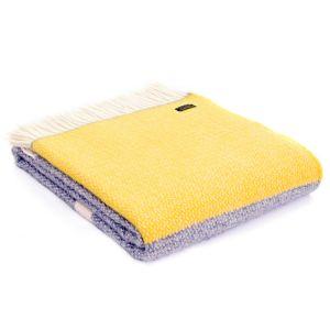 Tweedmill Illusion Panel Throw Blanket - Yellow and Grey