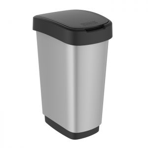 Rotho Twist Swing Bin, 50 Litre - Silver Metallic
