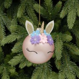 Festive Unicorn Head Glass Bauble, 8cm - Pink