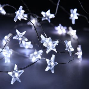 Silver Star LED Wire Lights - White