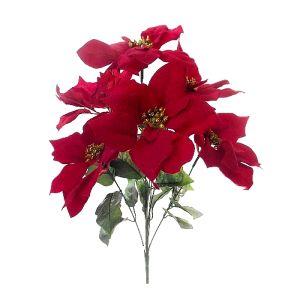 Velvet Poinsettia Pick Decoration