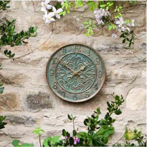Outside In Verdant Wall Clock - Verdigris