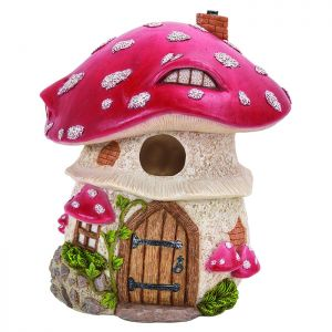 Miniature World Traditional Red Toadstool Birdhouse