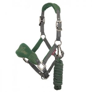 LeMieux Vogue Fleece Headcollar with Leadrope - Hunter Green/Grey