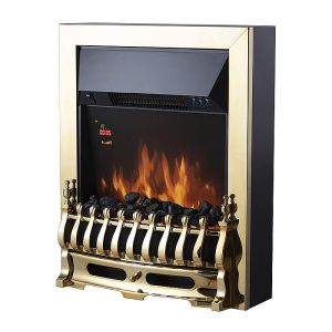 Warmlite 2000W Whitby Electric Fire Inset with Remote – Brass