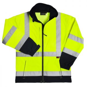 Warrior Iowa Hi-Vis Soft-Shell Jacket - Yellow/Navy