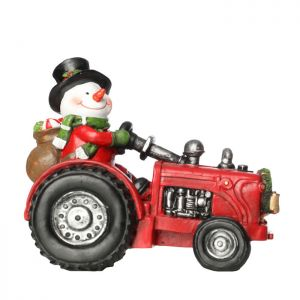 Jingles Pre-Lit Snowman on Tractor Ornament