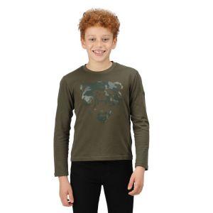Regatta Children's Wenbie II Long Sleeved Graphic T-shirt - Dark Khaki