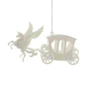 Festive Unicorn and Carriage Decoration, 15cm - White