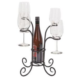 Wine Bottle & Glasses Caddy - Black