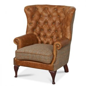 Worth Furnishings Wing Wrap Chair - Brown Cerato & Gamekeeper Thorn