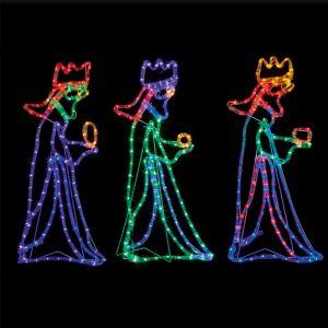Premier 70cm Three Wise Men Rope LED Light Figure - Multi Colour