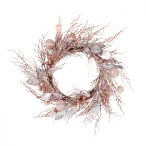 Jingles Rose Gold & Silver Decorated Wreath - 58cm