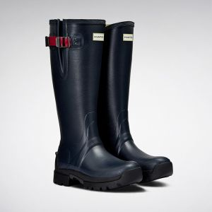 Hunter Balmoral Side Adjustable Neoprene Wellington Boots - Navy/Peppercorn