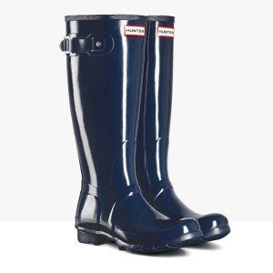 Hunter Original Tall Gloss Wellington Boots - Navy
