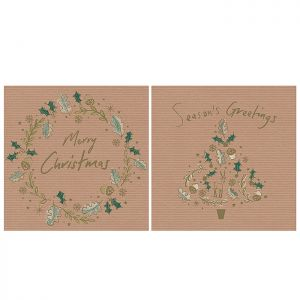 Wreath and Tree Christmas Cards - 12 Pack