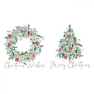 Wreath & Tree Christmas Cards - 12 Pack