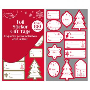 Traditional Foil Sticker Gift Tags - 100 Pack