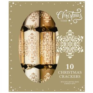 Gold Damask Christmas Crackers – Pack of 10
