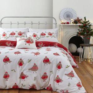 Catherine Lansfield Christmas Robin Duvet Set
