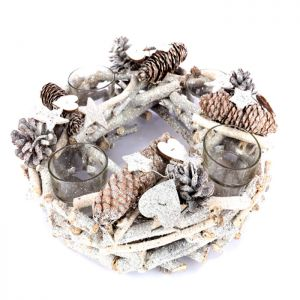 Jingles Willow Four Candle Holder Wreath - 30cm