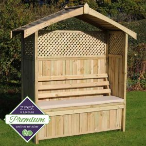 Zest 4 Leisure Hampshire Arbour with Storage Box and Stone Seat Pad
